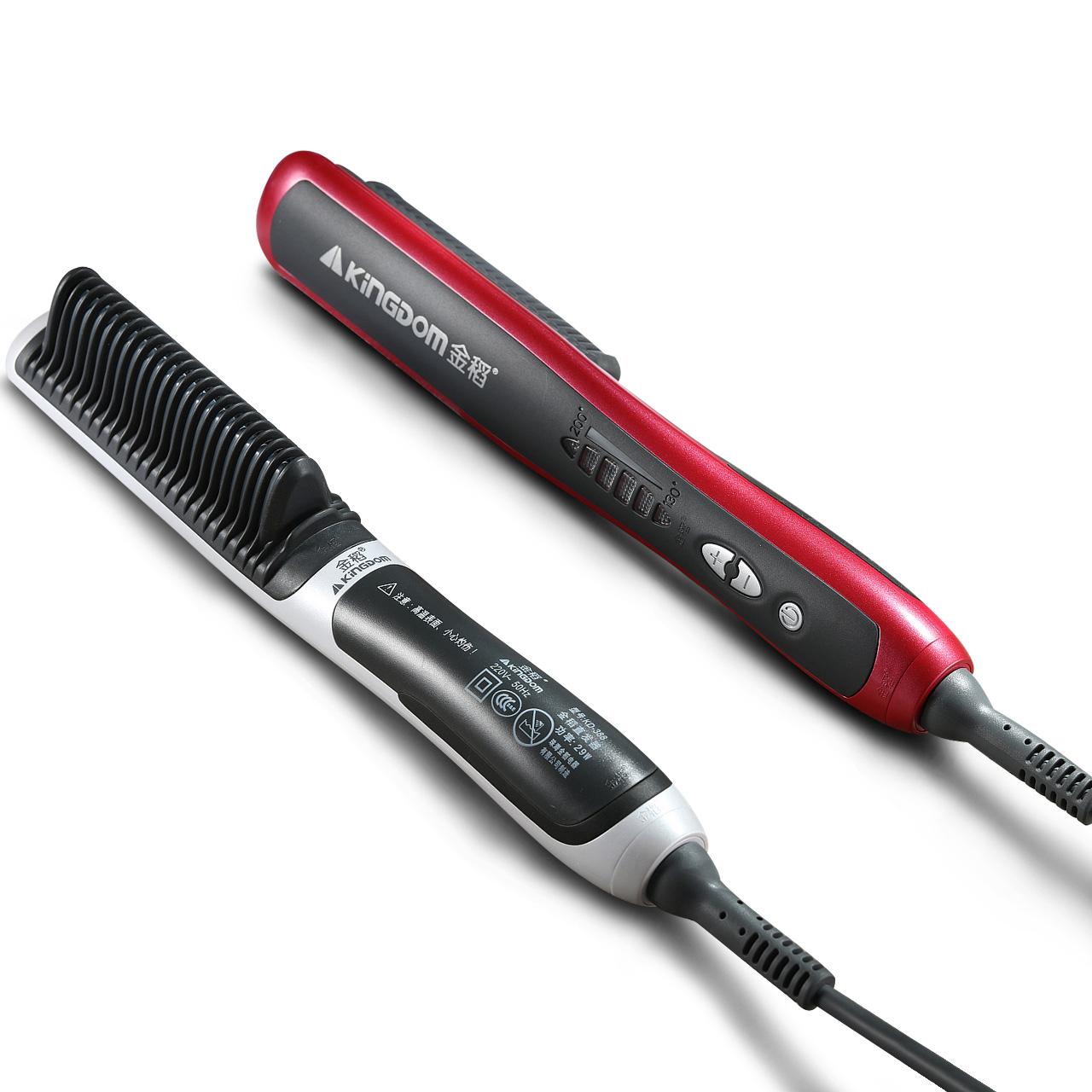 KD388金稻直发器两用直发梳不伤发直板夹卷发棒陶瓷美发工具直发电夹板